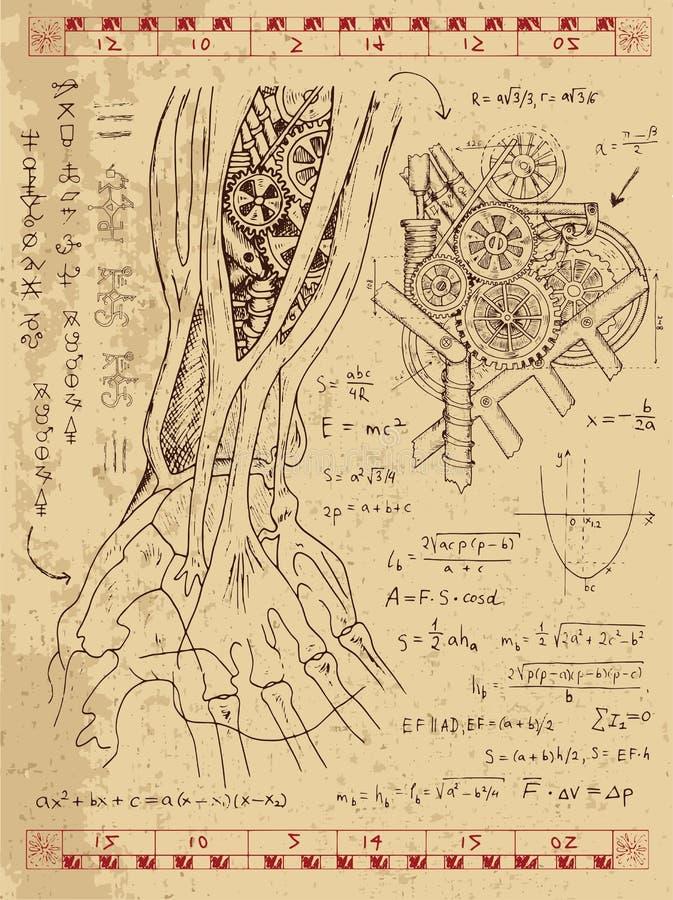 O gráfico ajustou-se com mecanismo do steampunk na mão humana da anatomia ilustração royalty free