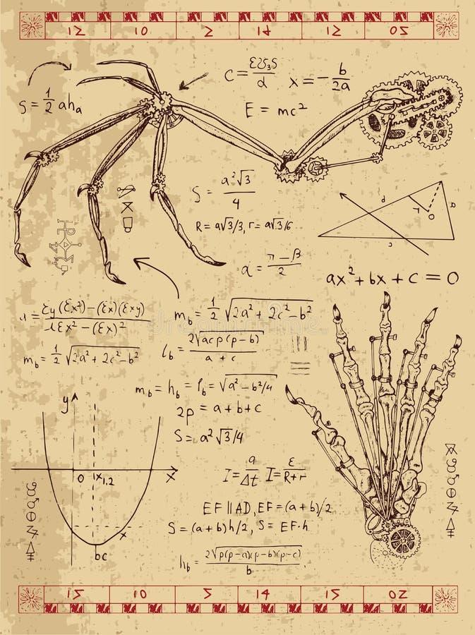 O gráfico ajustou-se com mecanismo do steampunk nas asas da fantasia e na mão do monstro ilustração royalty free