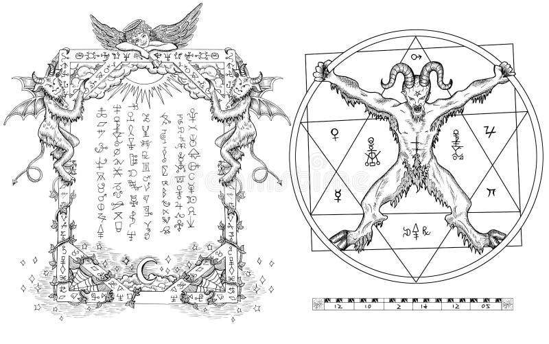 O gráfico ajustou-se com o diabo no círculo e no quadro religioso ilustração royalty free