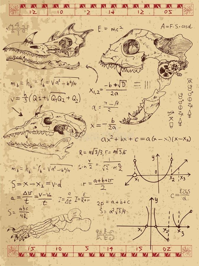 O gráfico ajustou-se com os crânios do monstro da fantasia, as fórmulas da matemática e símbolos místicos ilustração stock