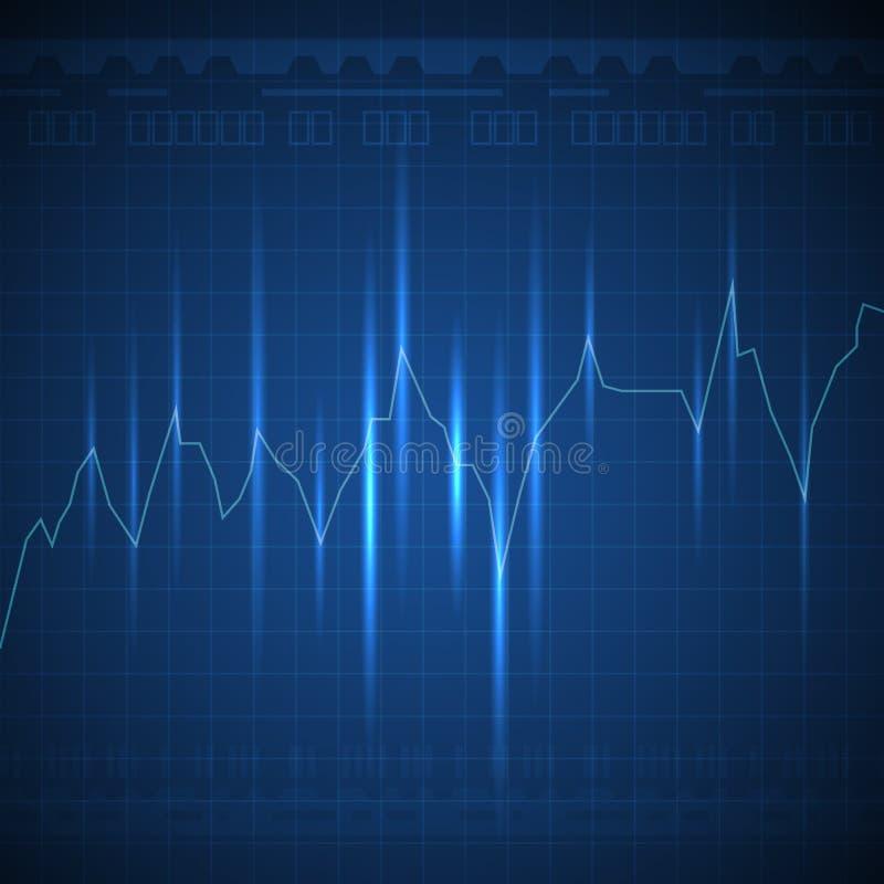 O gráfico azul de incandescência alinha ir acima no fundo escuro ilustração do vetor