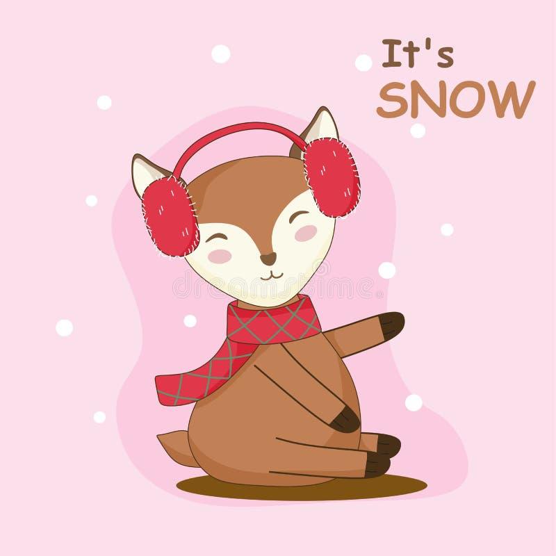 O gráfico bonito dos cervos aprecia a neve ilustração stock