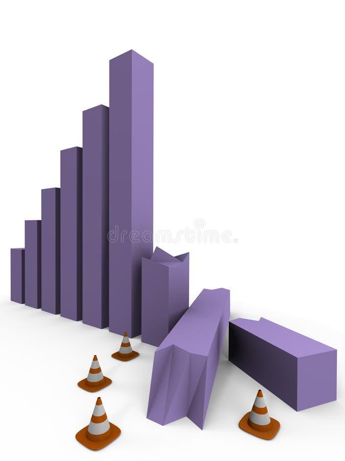O gráfico de barra causou um crash, sob a construção - uma imagem 3d ilustração do vetor