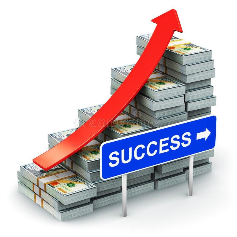 O gráfico de barra crescente das cédulas do dólar americano com sucesso assina ilustração royalty free