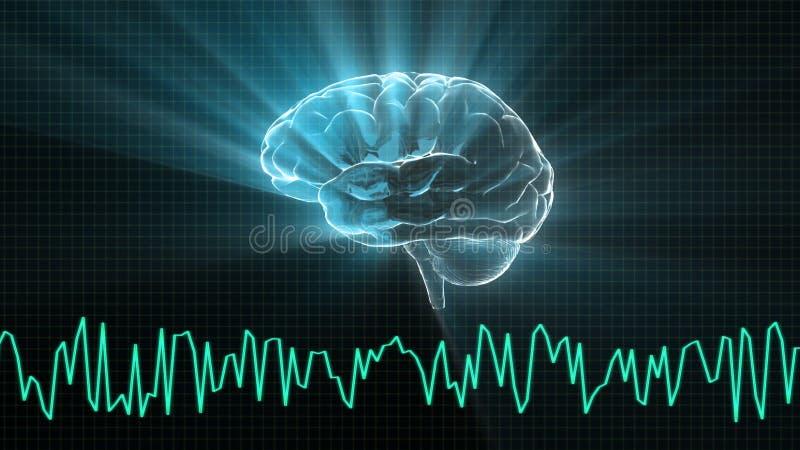 O gráfico de cristal do cérebro e da onda ilustração royalty free