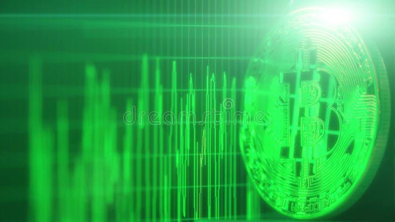 O gráfico de flutuação do preço do tempo real do bitcoin reflete no símbolo Cryptocurrency relacionou o tiro conceptual foto de stock