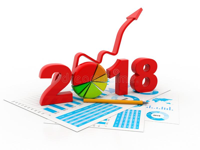 O gráfico de negócio com a seta ascendente e o símbolo 2018, representa o crescimento no ano novo 2018 ilustração stock