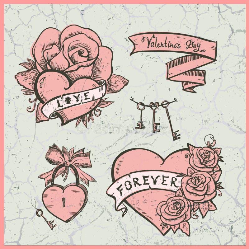 O gráfico de vetor da velha escola ajustou-se com corações, rosas e fitas ilustração stock