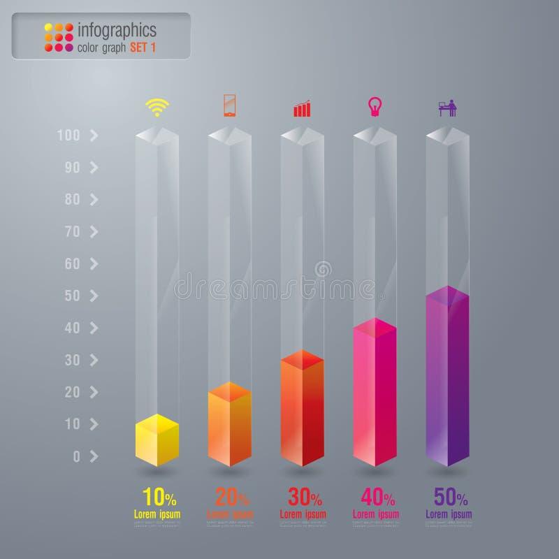 O gráfico digital abstrato da ilustração 3D ajustou 1. ilustração stock