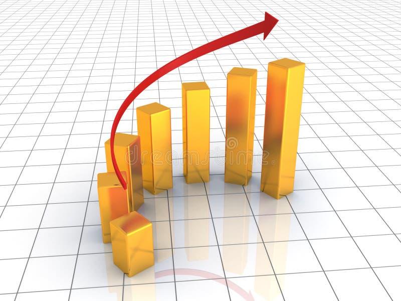 O gráfico dourado do sucesso de negócio cresce acima ilustração royalty free