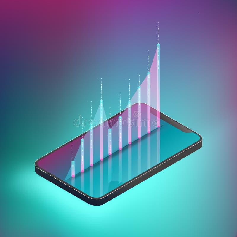 O gráfico flutuado no smartphone ilustra a compra e venda de ações ilustração royalty free