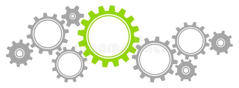 O gráfico horizontal alinha a beira Grey And Green ilustração stock