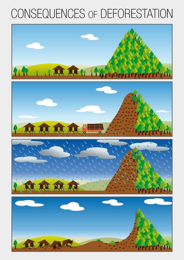 O gráfico mostra em 4 etapas as consequências do desflorestamento das florestas que causam corrimentos ilustração do vetor