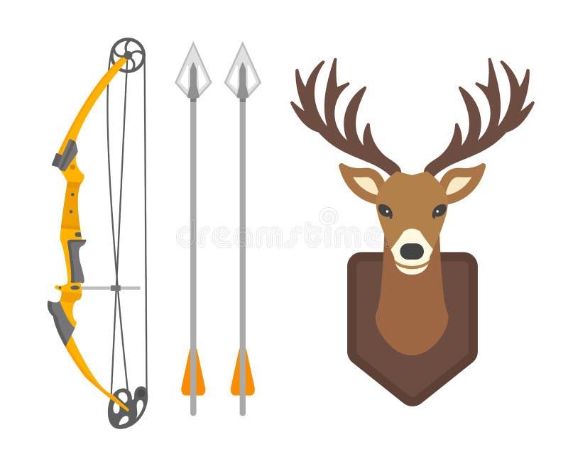 O gráfico selvagem principal do chifre dos animais selvagens da rena do mamífero da silhueta dos cervos e o emblema horned do tro ilustração royalty free
