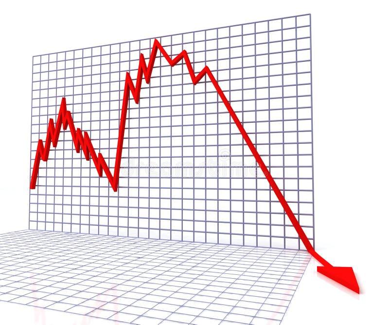 O gráfico vermelho mostra vendas ou modificação ilustração stock