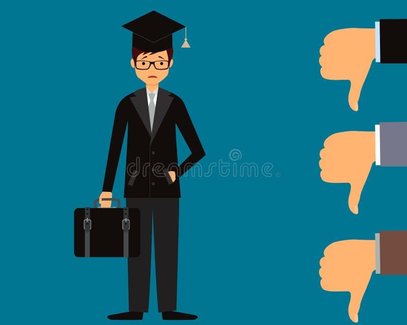 O graduado não pode encontrar um trabalho ilustração stock