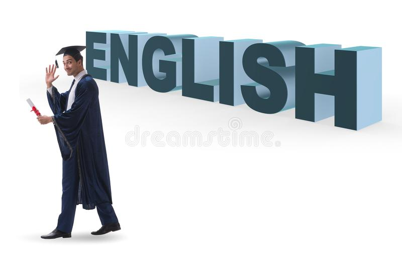 O graduado novo no conceito da educação de língua inglesa no branco imagem de stock royalty free