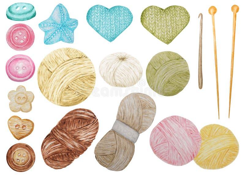 O grampo Art Hobby Knitting da aquarela e o crochê, fio de lãs, abotoam o grupo bonito de Clipart Coleção de bolas tiradas mão imagens de stock