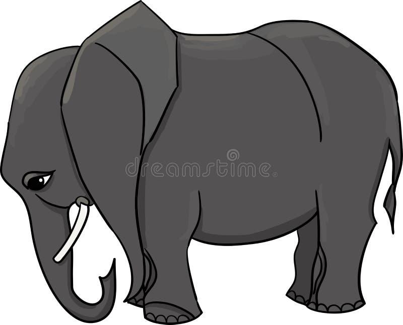 O grande elefante africano cinzento sem decora ilustração stock