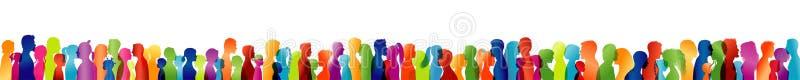 O grande grupo ou equipe dos povos mostram em silhueta o perfil colorido Conceito da amizade comunidade Fala dos povos Cara cabeç ilustração do vetor