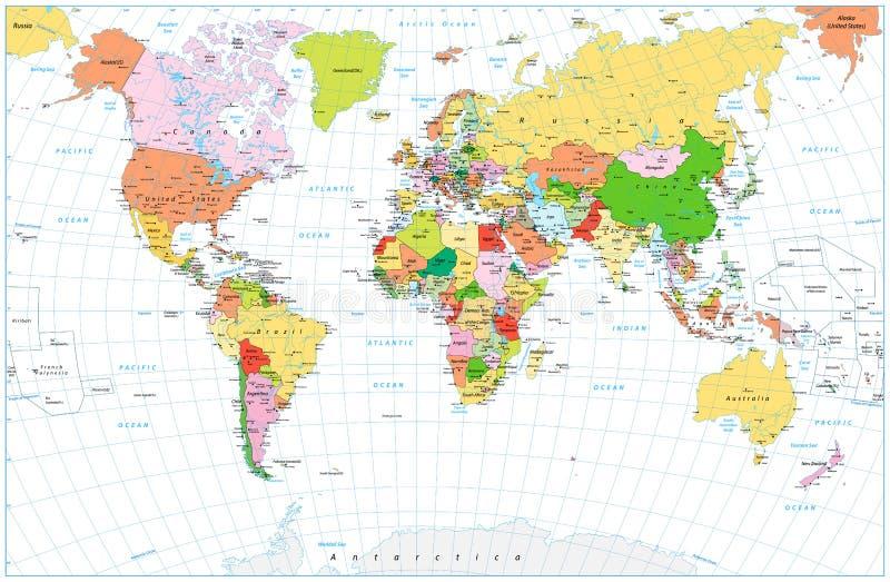 O grande mapa do mundo político detalhado com água objeta o isolado ilustração royalty free