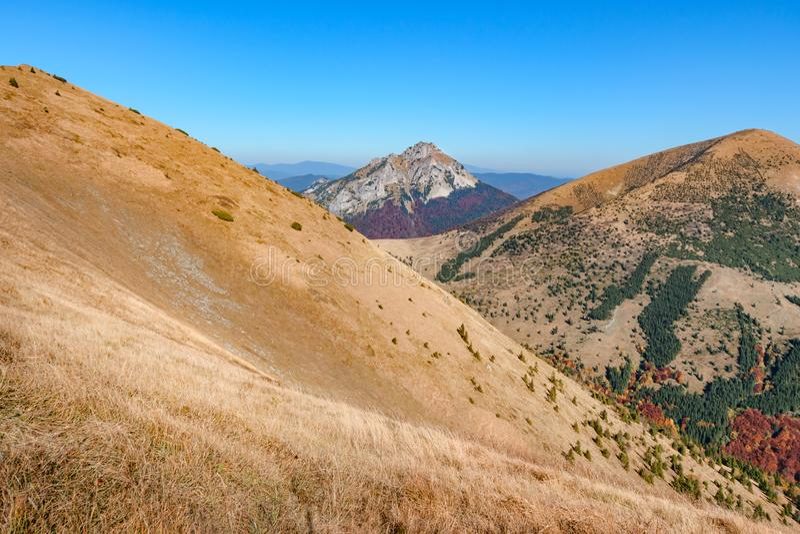 O grande monte de Rozsutec no vale de Vratna no parque nacional Mala Fatra, Eslováquia imagem de stock royalty free