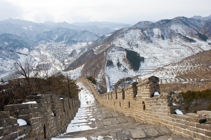O Grande Muralha de China na neve fotos de stock royalty free