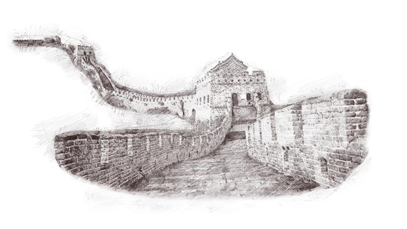 O Grande Muralha de China no estilo do esboço Ilustração, mão tirada, esboço isolada no branco Showplac histórico chinês da aquar