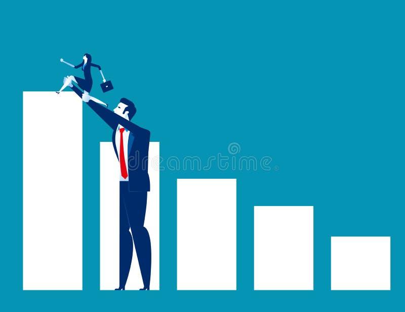 O grande negócio ajudou a empresa de pequeno porte ao sucesso Ilustração do vetor do sócio comercial do conceito Liderança ou ger ilustração stock