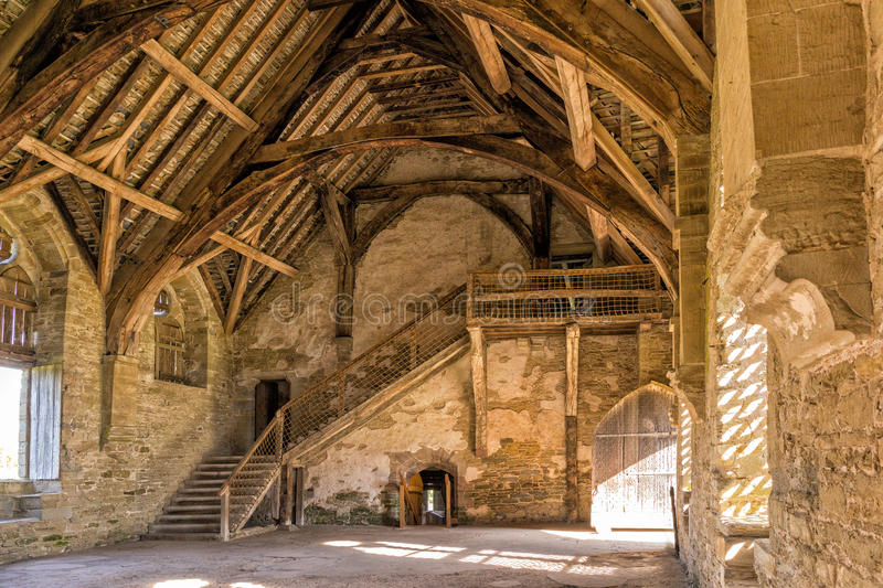 O grande salão, castelo de Stokesay, Shropshire, Inglaterra fotos de stock
