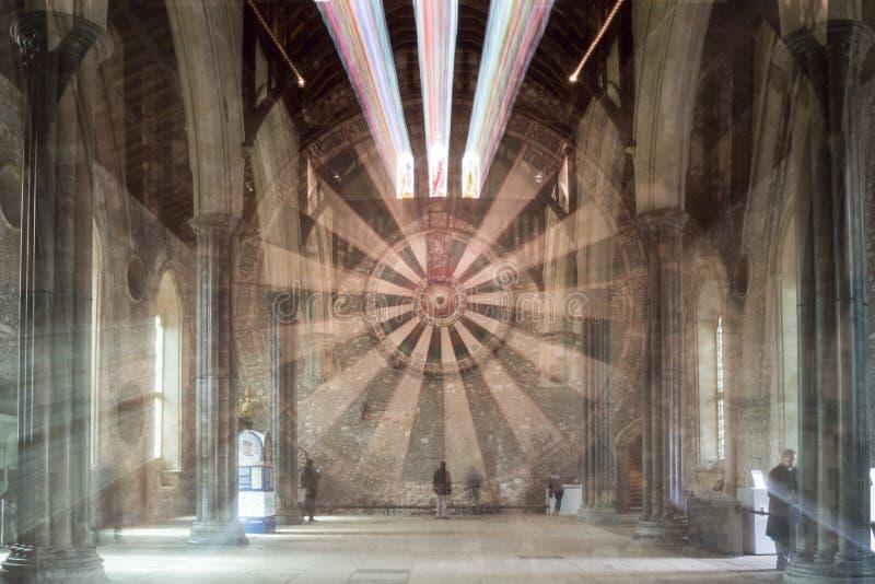 O grande salão, castelo de Winchester, explosão do zumbido de Hampshire fotografia de stock