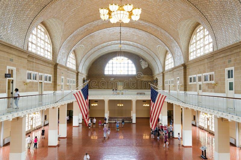 O grande salão em Ellis Island fotos de stock royalty free