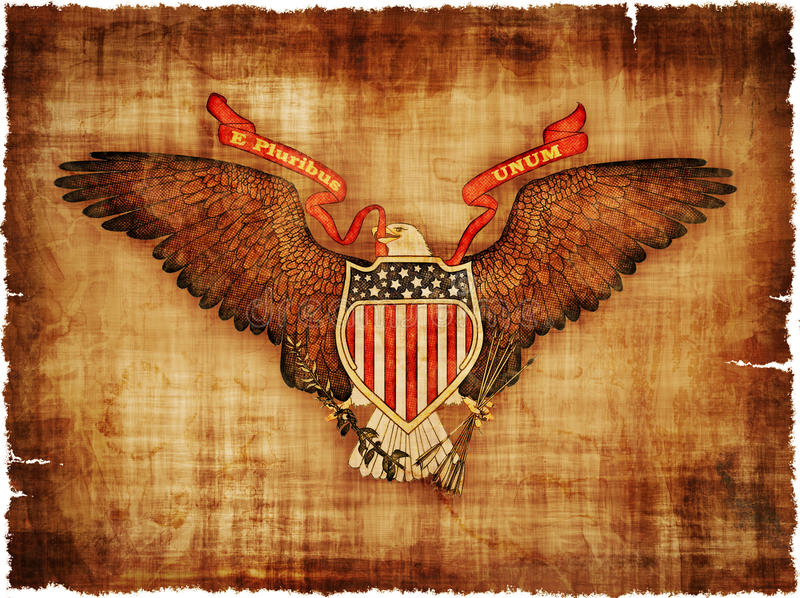 Grande selo dos EUA no pergaminho ilustração stock