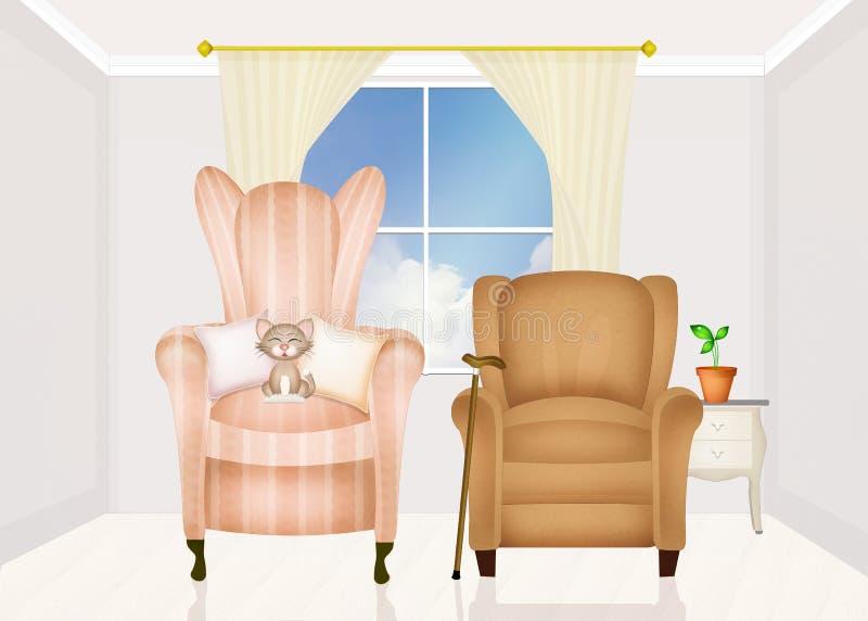 O grandparents& x27; casa ilustração do vetor