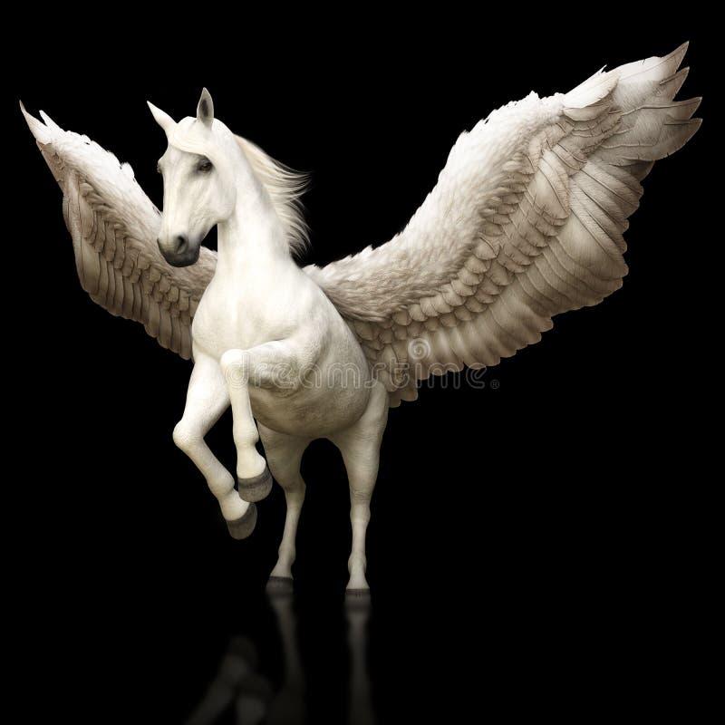 O grego mítico majestoso de Pegasus voou o cavalo em um fundo preto ilustração do vetor