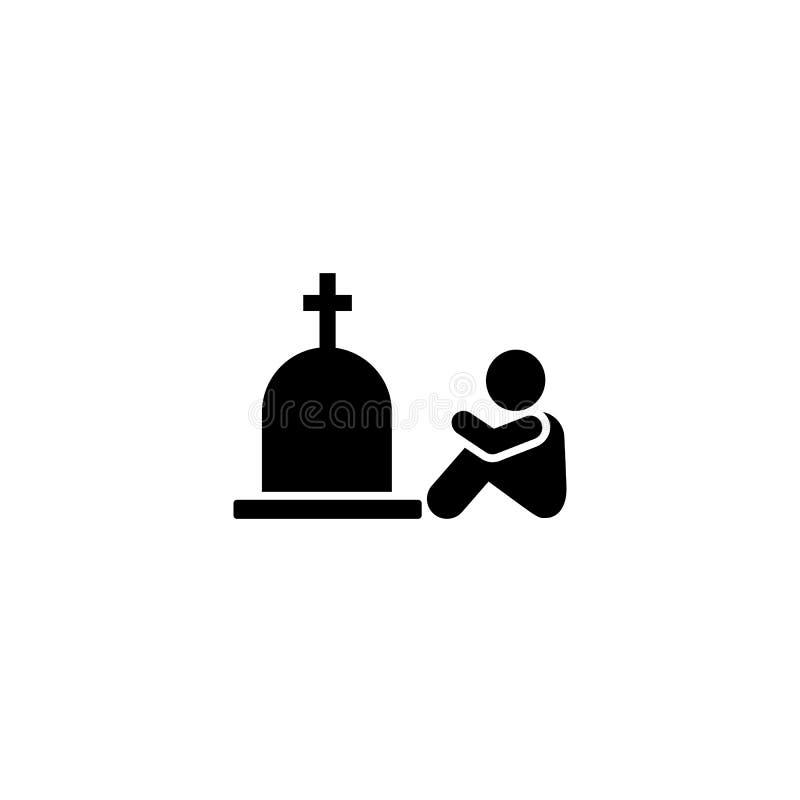 O grito da amargura do caixão da criança chora o ícone Elemento da ilustração da morte do pictograma ilustração do vetor