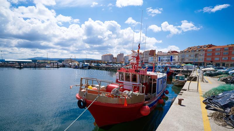 O Grove Ogrove port with fishing boats Pontevedra. O Grove Ogrove port with fishing boats of Arosa river in Pontevedra of Galicia Spain royalty free stock image