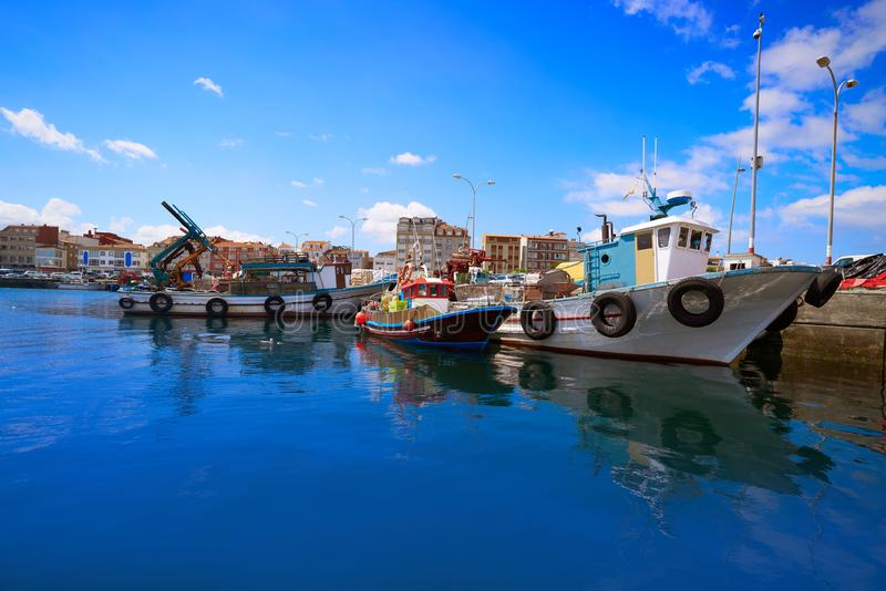O Grove Ogrove port with fishing boats Pontevedra. O Grove Ogrove port with fishing boats of Arosa river in Pontevedra of Galicia Spain royalty free stock photo