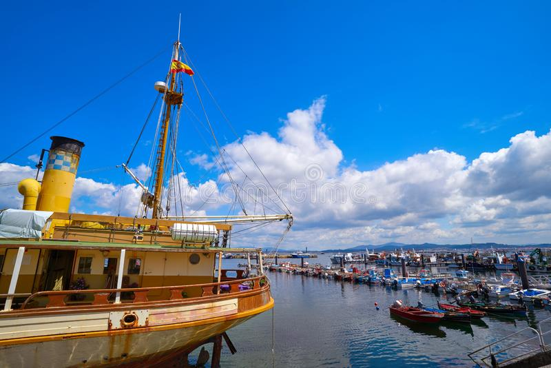 O Grove Ogrove port with fishing boats Pontevedra. O Grove Ogrove port with fishing boats of Arosa river in Pontevedra of Galicia Spain stock image