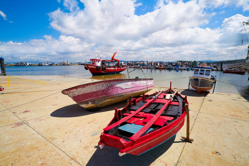 O Grove Ogrove port with fishing boats Pontevedra. O Grove Ogrove port with fishing boats of Arosa river in Pontevedra of Galicia Spain stock photography