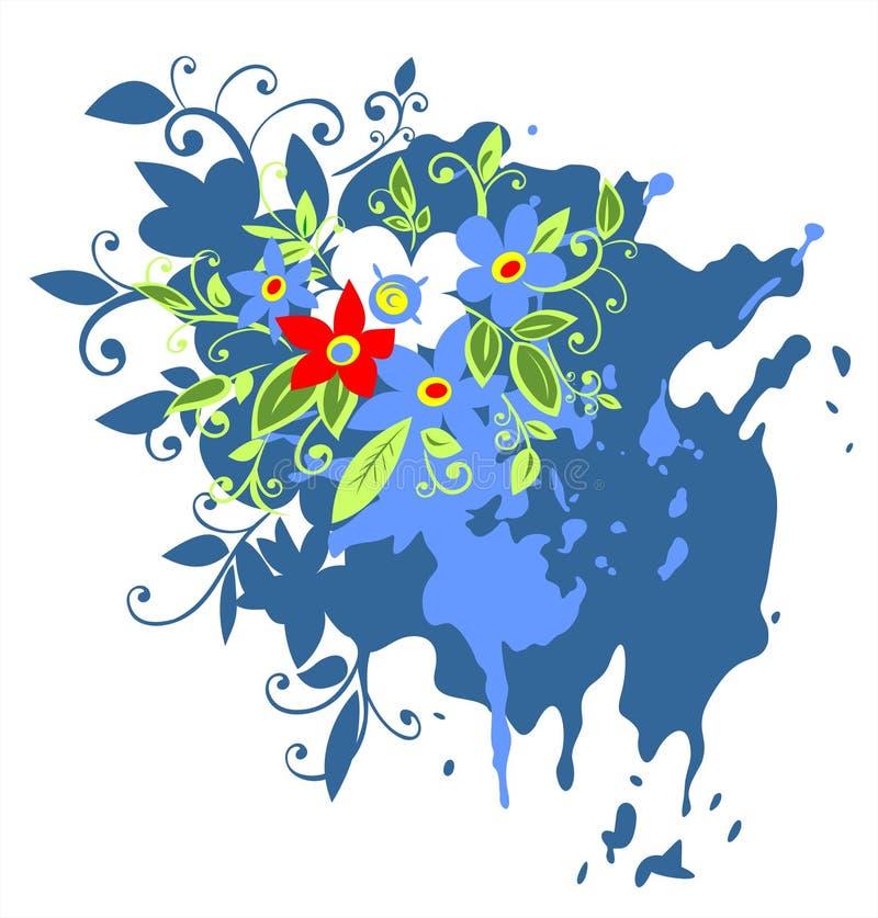 O grunge azul floresce o fundo ilustração do vetor