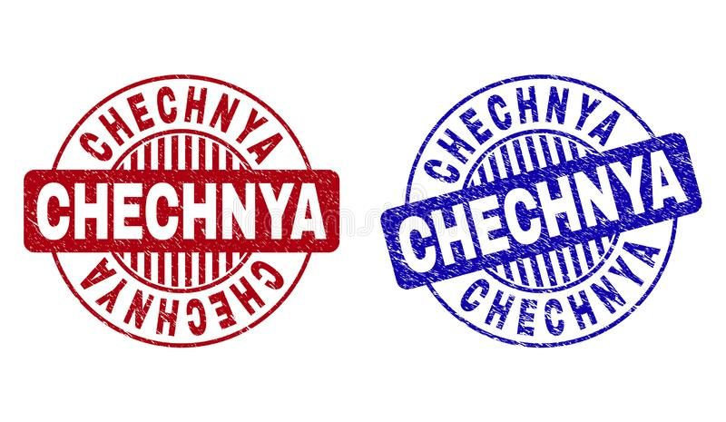 O Grunge CHECHNYA Textured filigranas redondas ilustração do vetor