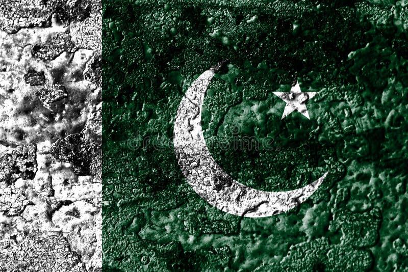 O grunge de Paquistão oxidou bandeira da textura do metal, fundo do metal da oxidação ilustração do vetor