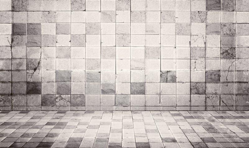 O Grunge e o vintage denominam o fundo da textura da parede e do assoalho da telha concreta imagem de stock