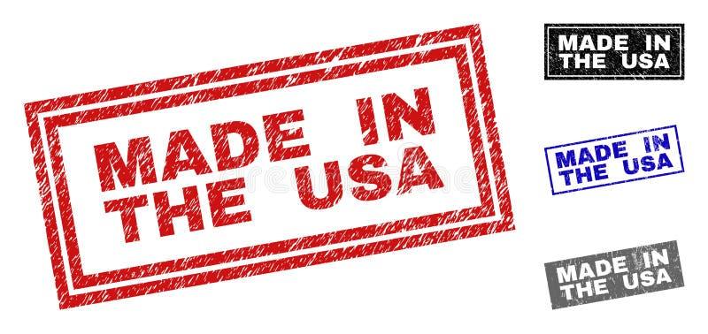 O Grunge FEZ nos EUA riscou selos do retângulo ilustração royalty free