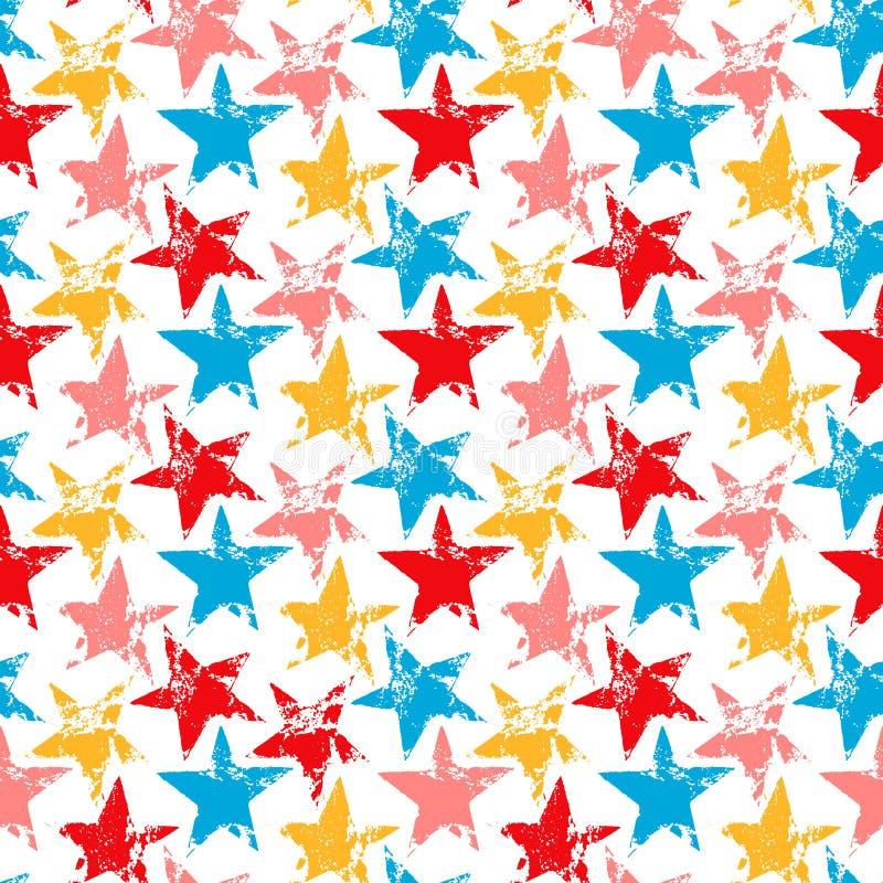 O grunge gastado colorido stars cópias teste padrão sem emenda, vetor ilustração do vetor
