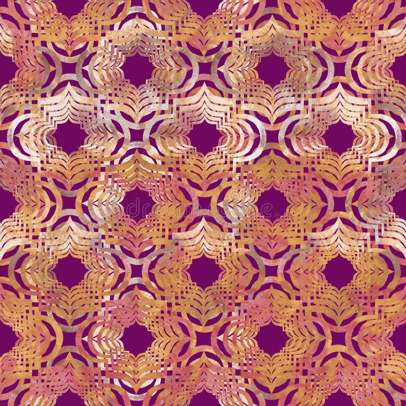 O grunge geométrico oriental encaracolado brilhante do sumário da forma colorido espirra a textura, teste padrão sem emenda da aq ilustração stock