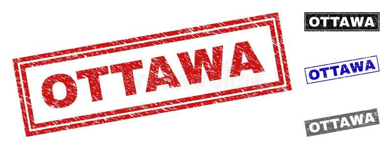 O Grunge OTTAWA riscou selos do retângulo ilustração do vetor