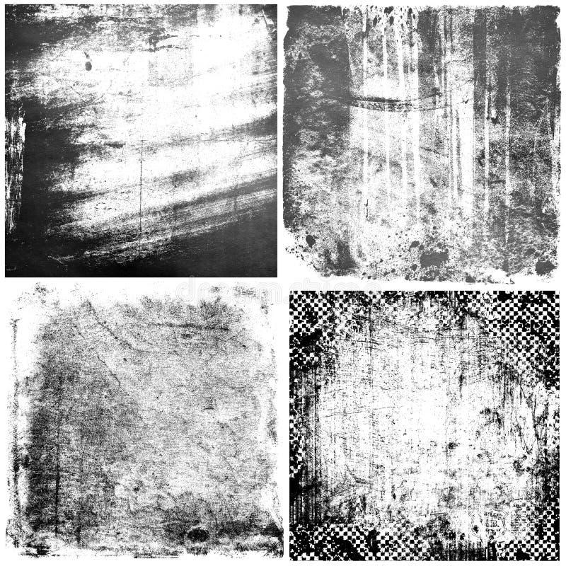 O grunge preto e branco textures fundos ilustração royalty free