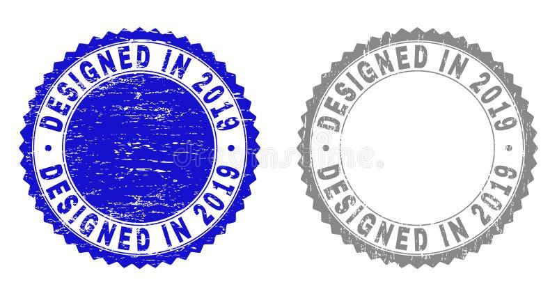O Grunge PROJETOU EM 2019 selos Textured ilustração royalty free